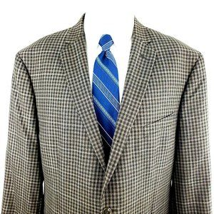 Joseph Abboud 44R 2 Button Windowpane Wool Slim